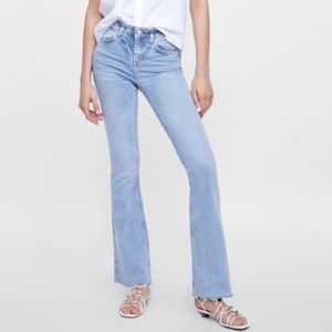 ZARA Stretchy Light Wash Flare Jeans w/ Raw Hem